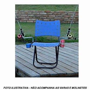 Cadeira Pesque Pague Dobrável 2 Sup Vara porta lata e isca