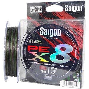Linha multi Saigon X8 300m 0,36mm 65lb Camouflaged