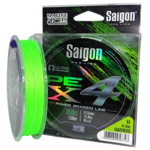 Linha multi Saigon X4 150m 0,25mm 35lb Chartreuse