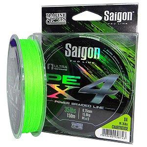 Linha multi Saigon X4 150m 0,33mm 55lb Chartreuse