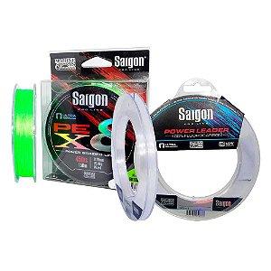 Linha Saigon X8 150m 0,25mm Chart + Linha Fluorc Saigon 0,38
