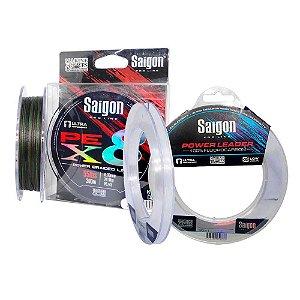 Linha Saigon X8 300m 0,25mm Camou + Linha Fluorc Saigon 0,38