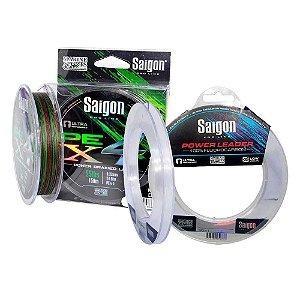 Linha Saigon X4 300m 0,25mm Camou + Linha Fluorc Saigon 0,38