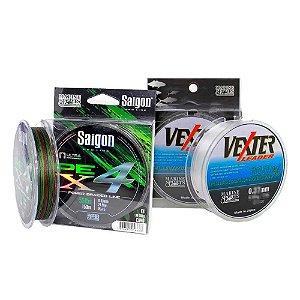 Linha multi Saigon X4 0,25mm Cam + Linha Fluorcarbono 0.42mm