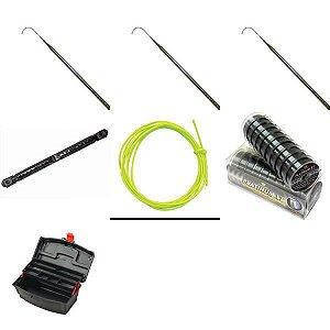 3 Varas Telescopicas + Enrolador + Cabresto + Linha + Caixa