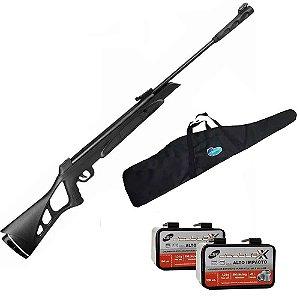 Carabina de Pressão CBC Nitro Six 6,0mm OX PP preta + 200 Chumbinho CBC  Six + Bolsa