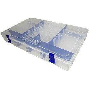 Estojo p/ iscas Box 50 Transparente c/ Trava Azul Xb74