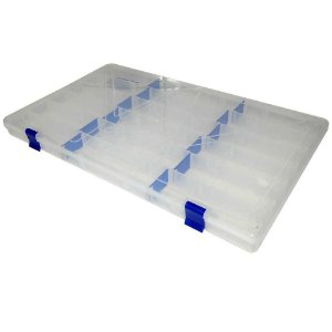 Estojo p/ iscas Box 23 Transparente c/ Trava Azul Xb14