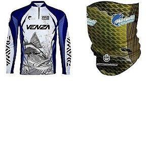 Camiseta de Pesca King Sublimada Venza Tam: M... + Breeze King Pro Tucunaré - Proteção UV (Máscara de Prot...