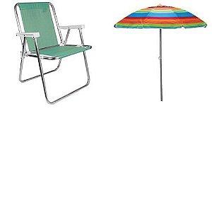 Cadeira Praia Camping Alta Aluminio Sannet-anis + Guarda Sol Alumínio 2,0m Vermelho Mor Praia Pesca...