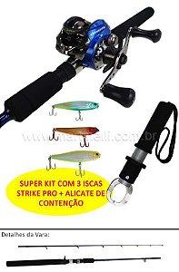 Conjunto: Carretilha Maruri TNT 8000 HI - Perfil Baixo + Vara Maruri Centrum CE-C562MH + Alicate + 3 iscas