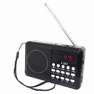 Rádio Digital De Bolso Portátil FM TF USB Hora Recarregável