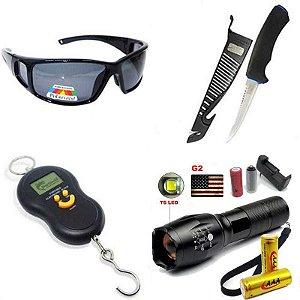 Óculos Polarizado Marine Sports MS-2648+ Lanterna Tática Militar CREE Led X1000 T6-G2+ Faca Marine Sports Fileteira+ Balanca Digital de mão até 50kg