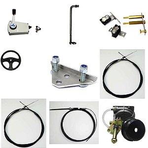 Kit para Johnson/Evinrude 25 HP 10PES + sistema de direção completo + comando lateral c/ kit e cabos