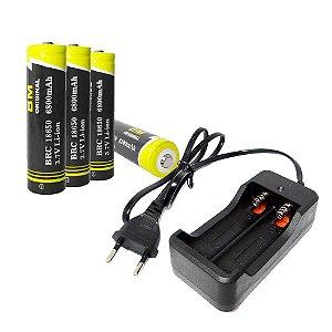 Carregador Duplo Bateria 18650 Lanterna Bivolt + 4 Baterias 18650