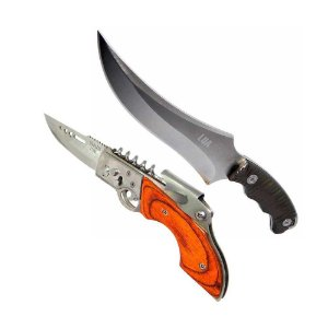 Faca inox Luatek 624 estilo Árabe c/ bainha + Canivete HZ-0235