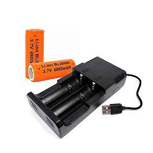 Carregador USB para até 2 baterias + 2 Baterias 26650 Recarregáveis