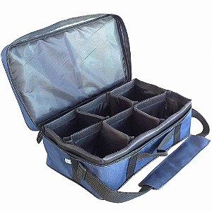 Bolsa Porta Carretilhas Ou Molinetes 6 Espacos 0046 Azul