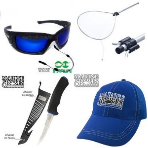 Kit de Pesca: Óculos Maruri Polarizado 6556 + Segurador de óculos ret... + Boné Marine Sports Azul - Original... + Passaguá Alumínio Retrátil G... + Faca Marine Sports Fileteira Knife 4 MS-FK05B com afiad...
