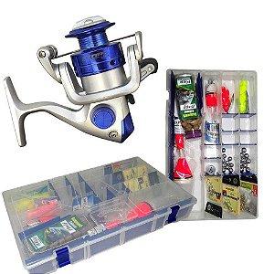 Molinete Marine Sports Star 3 + Kit Super Pesca - Estojo Linhas Anzóis e Acessórios