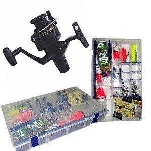 Molinete Shimano IX 1000 R + Kit Super Pesca - Estojo Linhas Anzóis e Acessórios