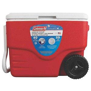 Caixa térmica Coleman 40 QT 38L Vermelha com rodas