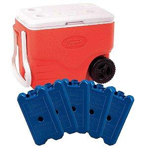 Caixa térmica Coleman 40 QT 38L Vermelha com rodas + 5 Gelo Artificial Cliogel 500ml reutilizável