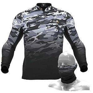 Camiseta de Pesca Presa Viva Camuflada 03 - GG + Breeze Buff Presa Viva Camuflada 03