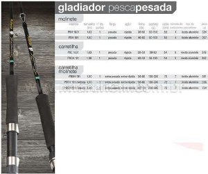 Vara Pesca Brasil Millenium Gladiador PBSH 191 com roldana - 50-80lb - (1,90m) (carretilha ou molinete) (inteiriça)