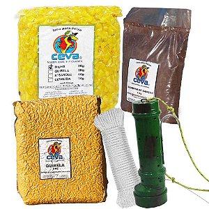 Tratador (cevador) PVC Verde + Milho Cozido 3Kg + Quirela 3 Kg + Farinha de sangue 1 Kg + Corda 6mm c/ 15m