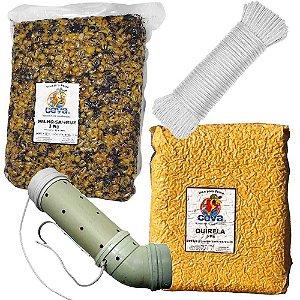 Tratador (cevador) PVC Grande Curvo + Milho c/ Sangue 3 Kg + Quirela 3 Kg + Corda 6mm c/ 15m