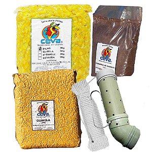 Tratador (cevador) PVC Grande Curvo + Milho Cozido 3Kg + Quirela  3 Kg + Farinha de sangue 1 Kg + Corda 6mm c/ 15m