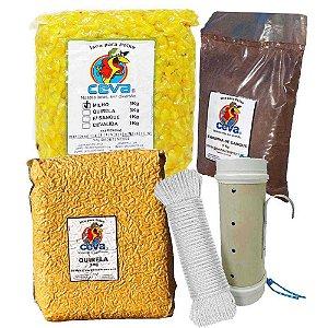 Tratador (cevador) PVC 4 pol. Grande + Milho Cozido 3Kg + Quirela 3 Kg + Farinha de sangue 1 Kg + Corda trançada 6mm c/ 15m