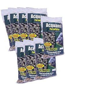 Kit 8 Ração Acquamil Furadinha Natural seca 400g cada