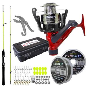 Molinete Marine Vista 4000 FD + Linha+ Estojo c/Kit de Pesca