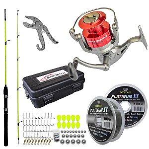 Molinete Marine Prisma 5000 FD + Linha + Vara + Estojo c/ Kit de Pesca