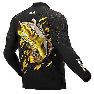 Camiseta de Pesca Presa Viva Tucunaré Amarelo 01 - M