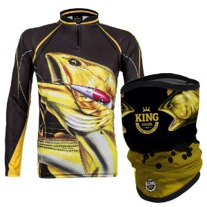 Camiseta de Pesca King  Kf 202 G + Breeze Buff King Douradao 07 - Proteção UV