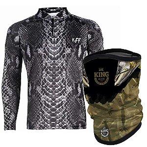 Camiseta de Pesca King 70 - Sneak Shadow G + Breeze Buff King Robaleiros 01 - Proteção UV