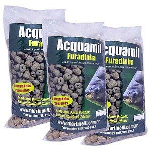 Kit 3 Ração Acquamil Furadinha Natural seca 400g cada