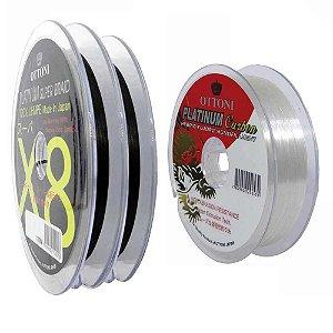 200m Linha Multifilamento Platinum X8 0,28mm 50lb/22.7kg + Linha Platinum Fluorcarbon Leader 0,40mm 100m