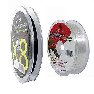 100m Linha Multifilamento Platinum X8 0,24mm 40lb/18.2kg + Linha Platinum Fluorcarbon Leader 0,35mm 100m