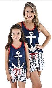 Kit 2 Pijama Baby Doll Mãe E Filha Âncora Curto