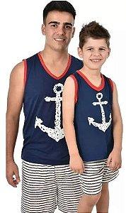Kit 2 Pijama Âncora Masculino Pai Filho Curto Bermuda Verão