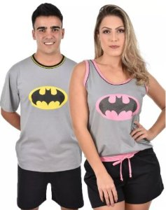 Kit 2 Pijama Pai E Mãe Adulto Batman Curto Verão