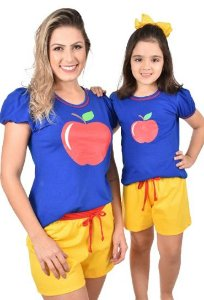 Kit 2 Pijama Mãe E Filha Branca De Neve Curto Baby Doll