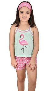 Baby Doll Filha Infantil Flamingo Pijama Verão Curto