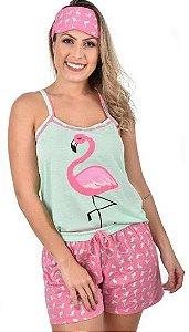 Baby Doll Mãe Adulto Flamingo Pijama Verão Curto