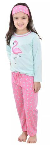 Pijama Infantil Flamingo Longo Feminino + Tapa Olho Brinde