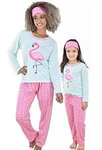 Kit 2 Pijama Mãe E Filha Flamingo Longo Feminino + Tapa Olho